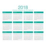 Vector ruso 2018 del calendario Foto de archivo libre de regalías