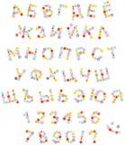 Funny floral font for holidays stock illustration