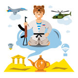 Vector Russian Army in the desert. Flat style colorful Comic Cartoon illustration. Jin with a gun from the lamp, air force. Isolated on a white background Stock Images