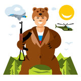 Vector Russian Army Humor Concept. Flat style colorful Cartoon illustration. Soldier in the skin of a bear.  on a white background Stock Photography