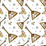 Vector russian balalaika seamless with colourful Royalty Free Stock Photo