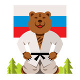 Vector Russian Bear Humor Concept. Flat style colorful Comic Cartoon illustration. Royalty Free Stock Photo