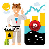 Vector Russian economy and Oil Industry. Floating exchange rate of the ruble. Flat style colorful Humor Cartoon Stock Photography