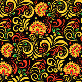 Vector Russian Ethnic ornament .Khokhloma seamless pattern in national style Stock Photo