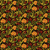 Vector Russian Ethnic ornament .Khokhloma seamless pattern in national style Royalty Free Stock Photo