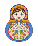 Vector russian folk ornamental matrioshka doll. Hand drawn zentangle with floral and ethnic ornaments Royalty Free Stock Photography