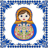 Vector russian folk ornamental matrioshka doll. Hand drawn zentangle with floral and ethnic ornaments Stock Photos