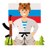 Vector Russian Soldier Humor Concept. Flat style colorful Cartoon illustration. Stock Image