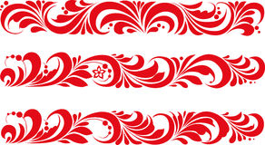 Vector. Russian traditional ornament Hohloma. Russian ornament Khokhloma red posted in the band Royalty Free Stock Image