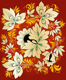 Vector. Russian traditional ornament Hohloma. Vector. Traditional Russian ornament in the style of Khokhloma in color on a red background Royalty Free Stock Photos