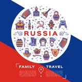 Vector Russian Travel flyer, brochure. Colorful russian icons on a flag background. Flat circle infographics. Matryoshka doll, vodka and food, samovar Stock Photography