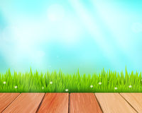 Vector rustic wooden planks and grass on blue Royalty Free Stock Images