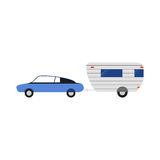 Vector rv trailer illustration. Flat camping icon. Good for the travel agency and camping, outdoor activities, sports Stock Images
