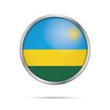Vector Rwandan flag button. Rwanda flag in glass button style. Royalty Free Stock Photos