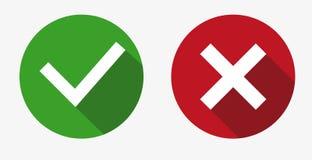 Vector sí y ningunas marcas de verificación en círculos stock de ilustración
