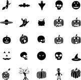 Vector símbolos de Halloween, bruxas, abóboras, fantasma Imagens de Stock