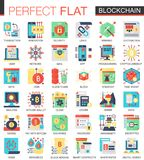 Vector símbolos lisos complexos do conceito do ícone do vetor da tecnologia de Blockchain para o projeto infographic da Web Fotografia de Stock Royalty Free