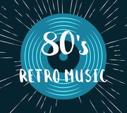 Vector 80s retro music vinyl record illustration Royalty Free Stock Photos