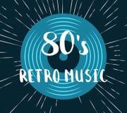 Vector 80s retro music vinyl record illustration. On vintage sunburst background illustration Royalty Free Stock Photos