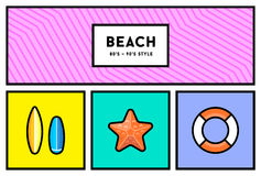 Vector 80s or 90s Stylish Icon Set with Retro Colours Royalty Free Stock Image