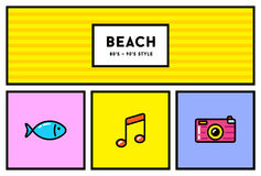 Vector 80s or 90s Stylish Icon Set with Retro Colours Stock Images