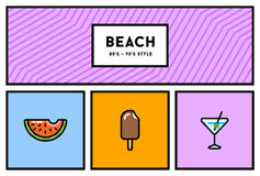 Vector 80s or 90s Stylish Icon Set with Retro Colours. EPS 10 Royalty Free Stock Photos