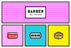 Vector 80s or 90s Stylish Icon Set with Retro Colours Royalty Free Stock Photos