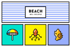 Vector 80s or 90s Stylish Icon Set with Retro Colours. EPS 10 Royalty Free Stock Photo