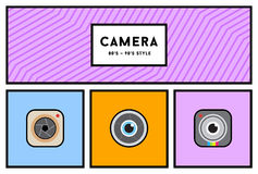 Vector 80's or 90's Stylish Photo Camera Icon Set with Retro Col Stock Photos