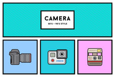 Vector 80's or 90's Stylish Photo Camera Icon Set with Retro Col Stock Photography