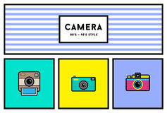 Vector 80's or 90's Stylish Photo Camera Icon Set with Retro Col Stock Photo