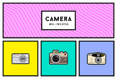 Vector 80's or 90's Stylish Photo Camera Icon Set with Retro Col Royalty Free Stock Images