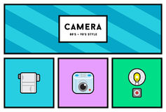 Vector 80's or 90's Stylish Photo Camera Icon Set with Retro Col Stock Images