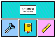 Vector 80's or 90's Stylish School Education Icon Set with Retro Royalty Free Stock Photography