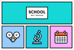 Vector 80's or 90's Stylish School Education Icon Set with Retro Royalty Free Stock Photo