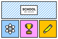 Vector 80's or 90's Stylish School Education Icon Set with Retro Stock Photos