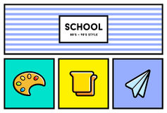 Vector 80's or 90's Stylish School Education Icon Set with Retro Royalty Free Stock Photos