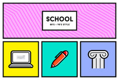 Vector 80's or 90's Stylish School Education Icon Set with Retro Stock Photography