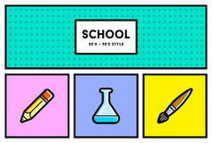 Vector 80's or 90's Stylish School Education Icon Set with Retro Stock Image