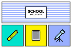 Vector 80's or 90's Stylish School Education Icon Set with Retro Royalty Free Stock Image