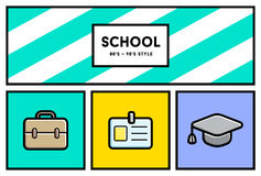 Vector 80's or 90's Stylish School Education Icon Set with Retro Stock Images
