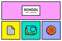 Vector 80's or 90's Stylish School Education Icon Set with Retro Royalty Free Stock Images