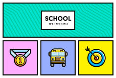 Vector 80's or 90's Stylish School Education Icon Set with Retro Stock Photo