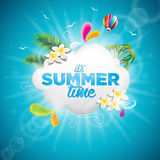 Vector It's Summer Time Holiday typographic illustration with tropical plants, flower and hot air balloon on blue background. Eps 10 design Royalty Free Stock Photography