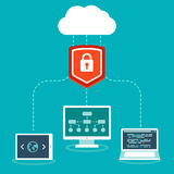 Vector SaaS concept in flat style. Software as a service business model - cloud computing and protecting data Royalty Free Stock Photo