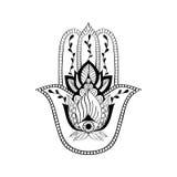 Vector sacred sign - hamsa hand, hand of Fatima. Indian hand drawn ethnic ornament Royalty Free Stock Photos