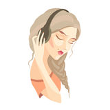 Vector sad girl with long hair listening to music on headphones Stock Photos