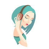 Vector sad girl with short  blue hair listening to music on head Royalty Free Stock Photography