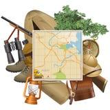 Vector Safari Concept con el mapa Imagenes de archivo