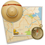 Vector Safari Map with Hat Royalty Free Stock Images